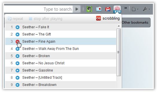 Last.fm Player Dropdown - © TechNorms