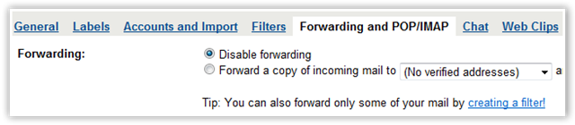 Disable Forwarding in GMail - © TechNorms