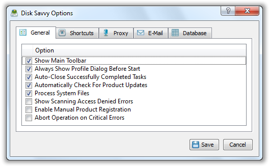 Disk Savvy Options - © TechNorms