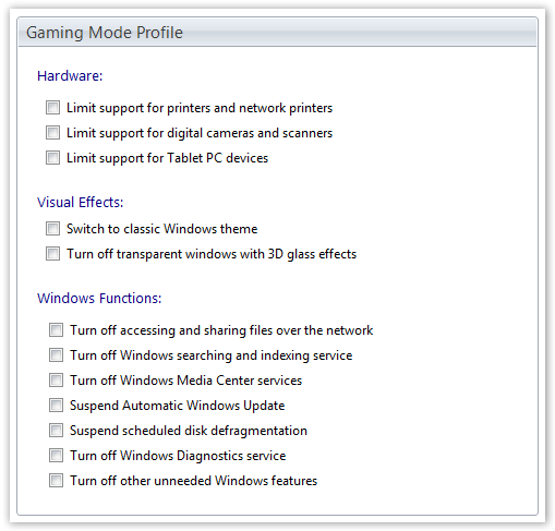 Gaming Mode Options - © TechNorms