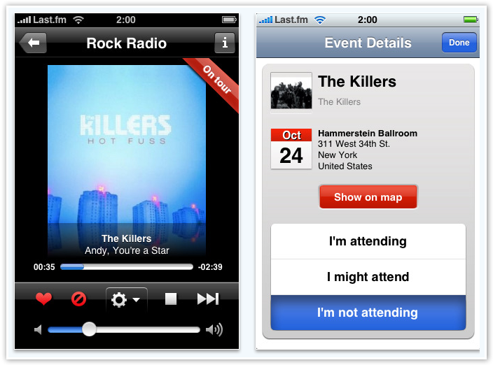 Last.fm on iPhone - Artist Concerts - © TechNorms