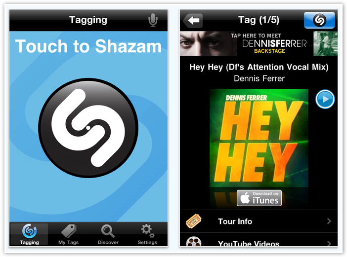 Shazam iPhone App - © TechNorms