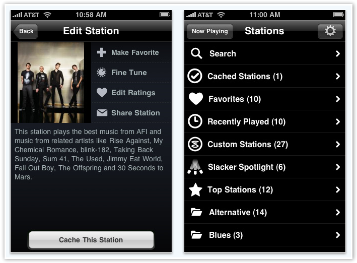 Slacker Radio - Station Options - © TechNorms