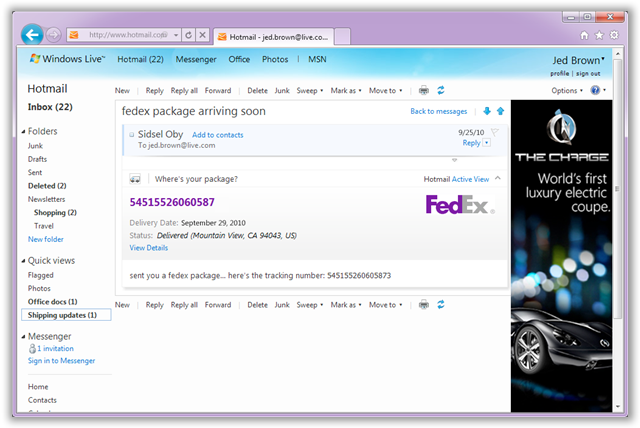 Track Packages In Hotmail - © TechNorms