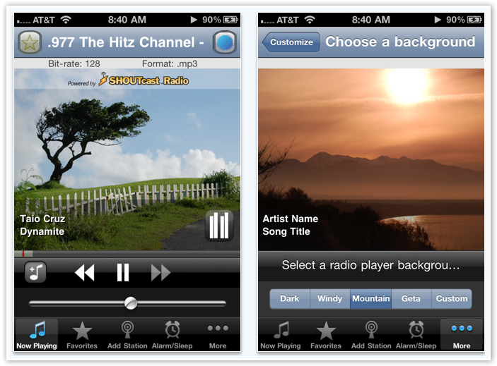 Tunemark Radio With Customized Background - © TechNorms