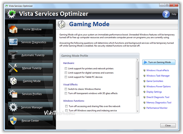 Vista Service Optemizer - Gaming Mode - © TechNorms