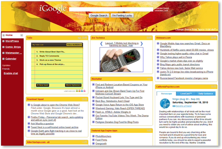 iGoogle Spain World Cup Theme - © TechNorms