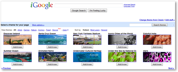 iGoogle Themes - © TechNorms