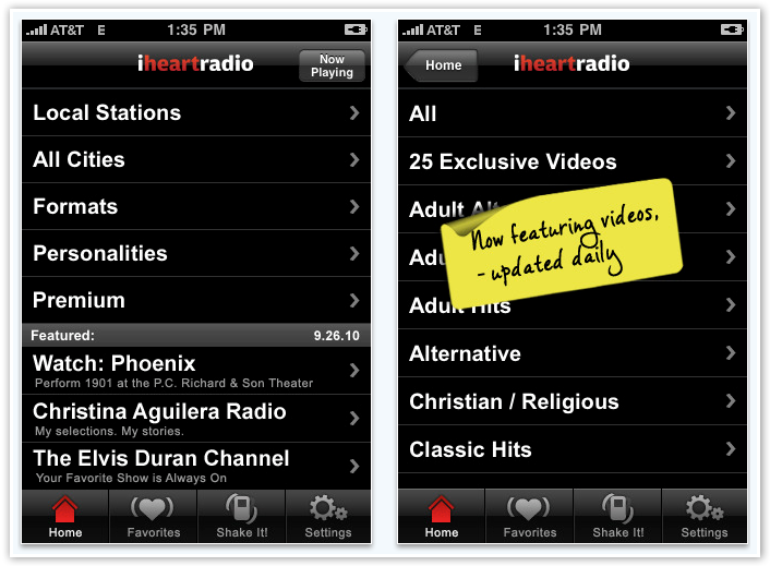 iHeart Music - Stations by Genre and Location - © TechNorms