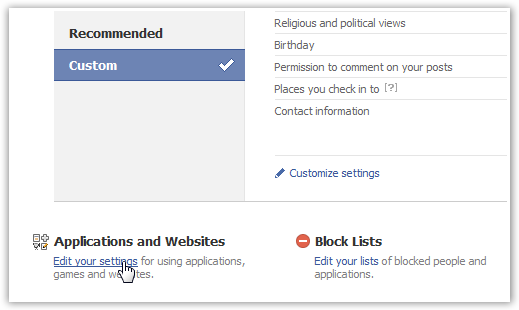 Application Settings on Facebook