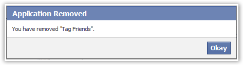 Confirm Facebook Application Removal