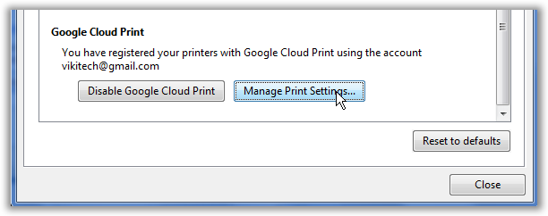 Google Cloud Print Setup