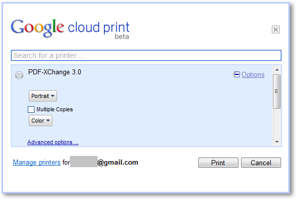 Google Cloud Printer Options