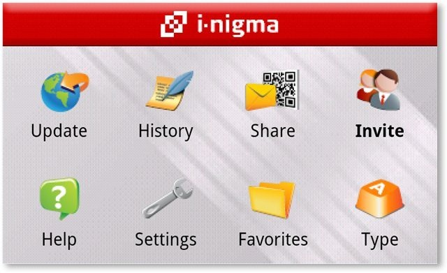 I-Nigma Barcode Scanner Main Menu - TechNorms