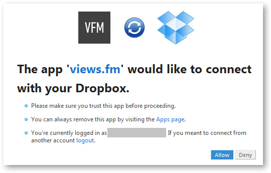 Connect your Dropbox account to View.fm