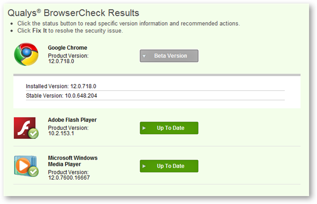 Browser Check Scanning Results