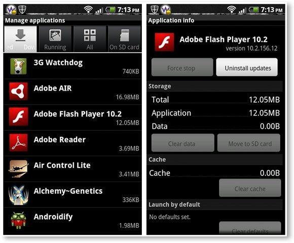 Android Application Management and Application Info