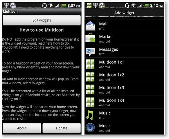 Multicon Widgets App - How To Use and Widget Options