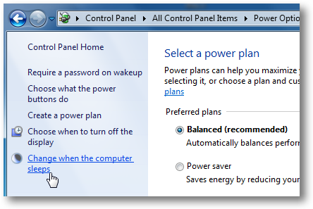 Windows 7 Sleep Options