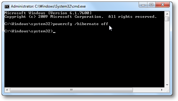 Disable Hibernate Option via Command Prompt