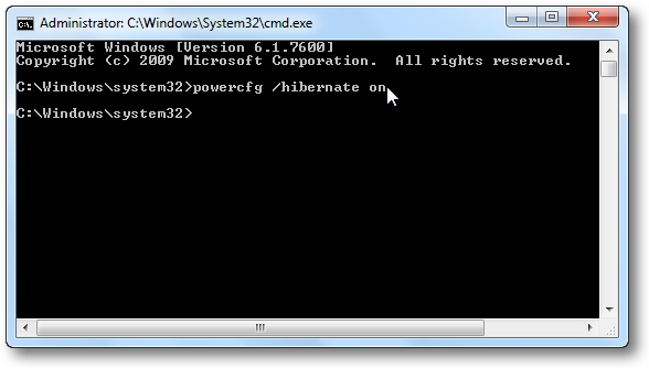 Enable Hibernate Option via Command Prompt