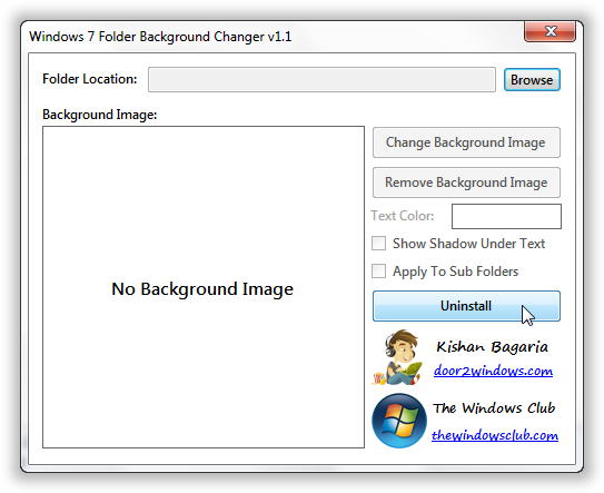 Folder Background Changer for Windows 7