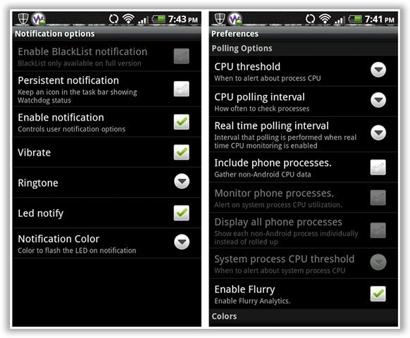 Watchdog Task Manager - Notification Options and Settings