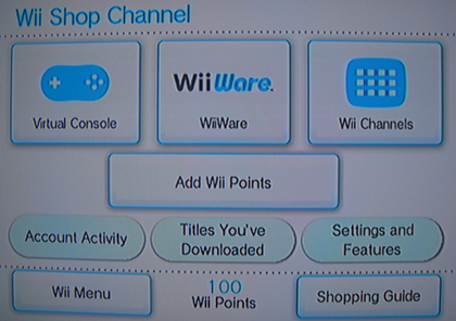 (3) Wii Shop Channel Screen