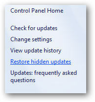 (8) restore hidden updates link