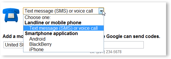 Choose SMS or Voice Call Option