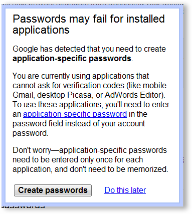 Creating Application Specific Passwords