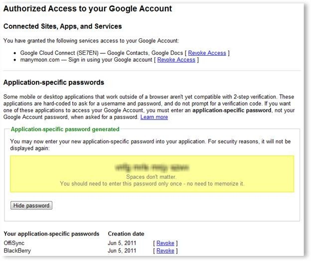 Authorizing Access to Your Google Account