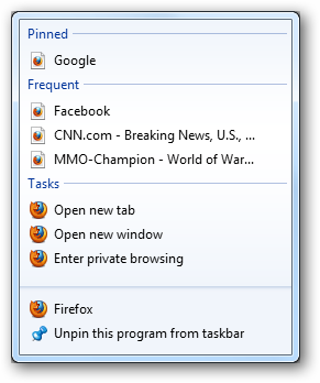 (7) jumplist from taskbar