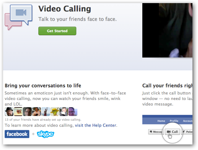 Facebook Video Calling Homepage
