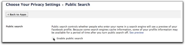 Public Search Facebook privacy setting