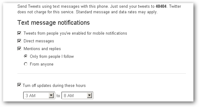 Twitter Text Message Notifications