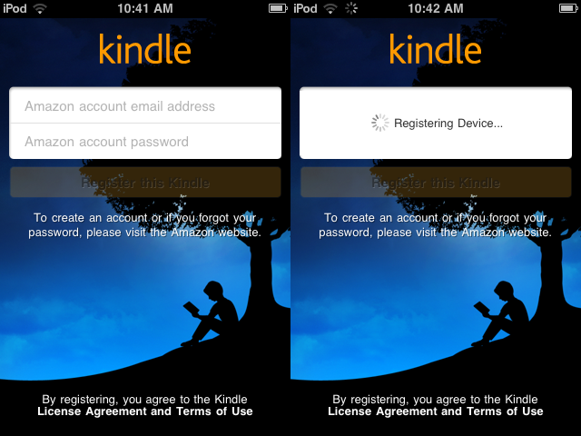 (12) combined logging into kindle app