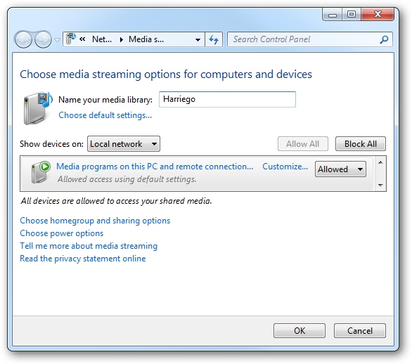 (8) media streaming options