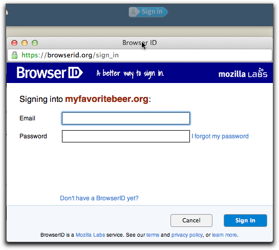 BrowserID Sign In