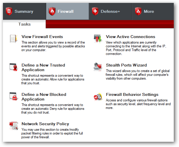Comodo firewall settings