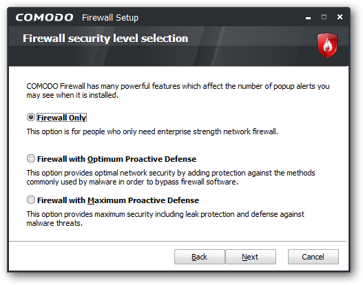Firewall security level selection