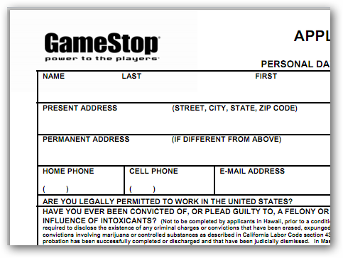 Gamestop application in PDF format