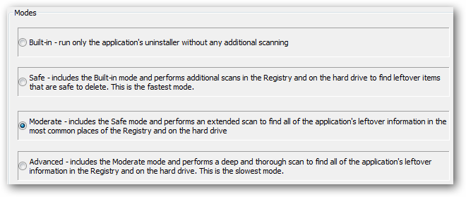 Uninstall modes to choose from