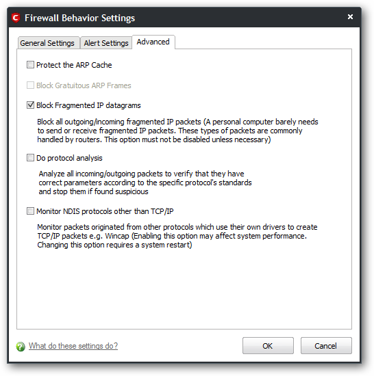 Comodo advanced settings