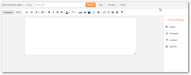 new blogger post composition interface