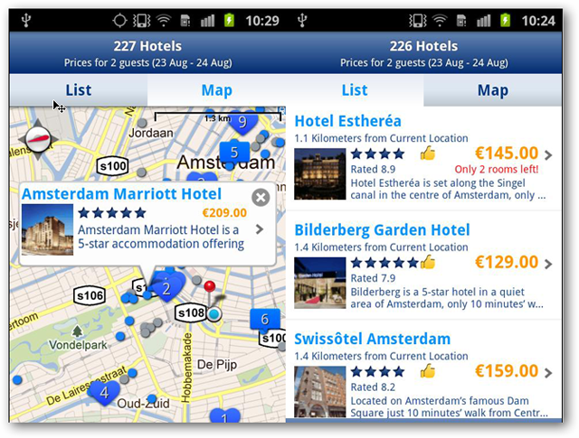 screenshots of bookings.com android app