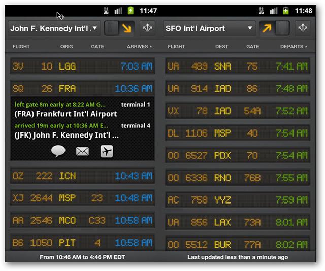 screenshots of flight board android app