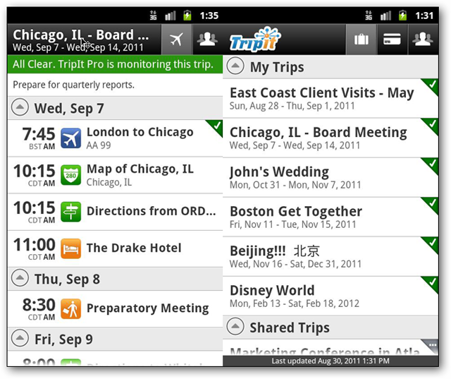 screenshots of tripit android app
