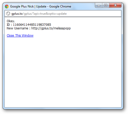 Confirmation of nick name change on gplus.to