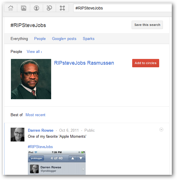 Google+ hashtags in action